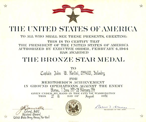 United States Of America Bronze Star Certificate Memento Collectible